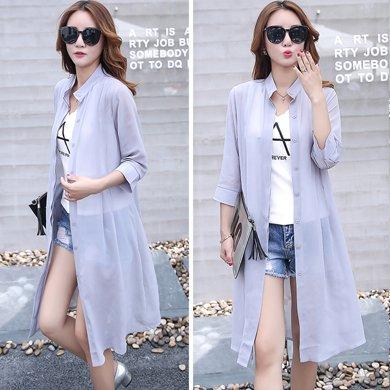 億族 夏季新款韓版大碼空調衫中長款防曬衣女純色開衫外套