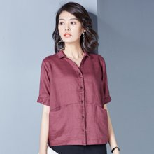 OUBOGJ 苎麻衬衫女纯色短袖夏季新款韩版宽松休闲方领衬衣显瘦B10259