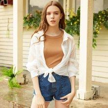 BANANA BABY2017夏新款纯色轻薄衬衫女长袖宽松防晒衬衣女空调衫D72C128