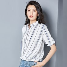 OUBOGJ  条纹衬衫女七?#20013;?#26149;夏季新款韩版潮百搭休闲收腰上衣显瘦B08837