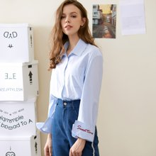 BANANA BABY2017秋季新款女装韩版字母刺绣衬衫女长袖纯色衬衣潮D73C064