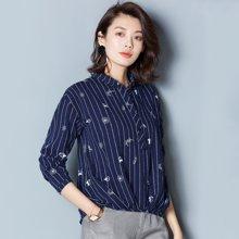 OUBOGJ  长袖衬衫女套头条纹衬衣方领秋季上衣女新款寸衫韩版潮17C14375
