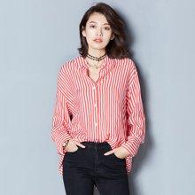 OUBOGJ  红色条纹衬衫女长袖韩版宽松秋季上衣女新款潮冰丝衬衣17C14717