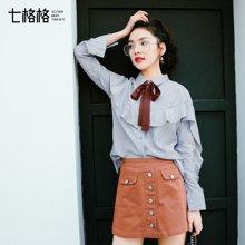 新品 七格格 通勤韩版学生蝴蝶结系带雾霾蓝荷叶边袖衬衫女