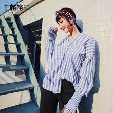 新品 七格格 衬衫女装长袖2018春装新款韩版宽松chic上衣港味学生V领条纹衬衣