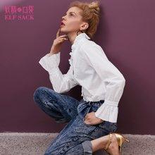 妖精的口袋Y春装2018新款宽松长袖门襟木耳边纯色衬衫女B8101021