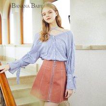 BANANA BABY2018春季新款韩版大V领条纹衬衫女系带袖口宽松衬衣潮D81C081