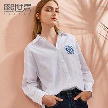 熙世界通勤韩版中长款长袖衬衫女2018年春装新款刺绣衬衣115LC387