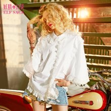 妖精的口袋Y蕾丝衬衫春装2018新款木耳边chic短袖女C8107002预