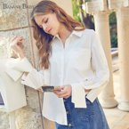 BANANA BABY2018春夏新款韩版简约衬衫女镂空长袖单排扣宽松衬衣D81C065