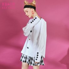 妖精的口袋Y春装2018新款休闲纯色长袖基础款文艺衬衫女C18101056