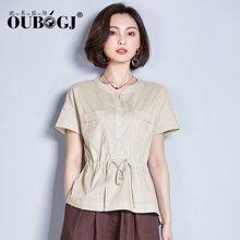 OUBOGJ春夏新款女装收腰v领上衣休闲韩版短袖衬衣18B12466