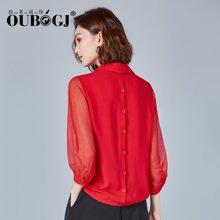 OUBOGJ 春夏女装雪纺?#32435;?#22899;套头七分袖韩版宽松红色衬衣18A02823