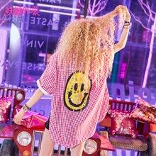 妖精的口袋Y怪味少女外套夏装2018新款chic原宿风短袖格子衬衫女J