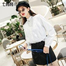 新品 七格格 白色立领衬衫秋装蕾丝拼接女士韩版宽松复古2018新款蓬蓬上衣长袖