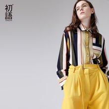 初語2018春季新款 寶藍色復古條紋寬松長袖雪紡襯衫8811316001