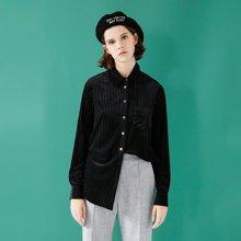 初语春季新款条纹长袖显瘦绒质感白色打底衬衫女个性黑色衬衣8810210006