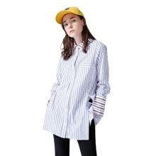 初语春季棉质侧身开衩宽松个性时尚长袖条纹衬衫女中长款衬衣8810212003
