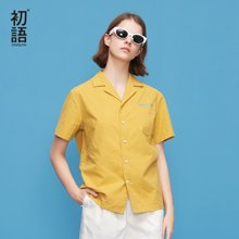 初語夏季新款 短袖刺繡翻領寬松休閑襯衫8820232007