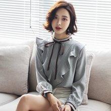 轩品媛  长袖2018年春季套头圆领衬衫修身气质简约韩版潮流上衣  X2302082