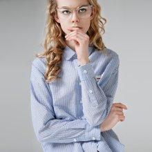 初語2018春裝新款 襯衫女長袖翻領字母刺繡chic條紋襯衣女裝上衣8730212008