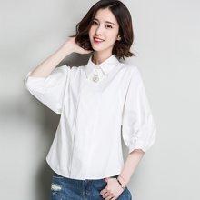 韩国女装白衬衫2018春季新款翻领上衣灯笼袖女式衬衫CS9-16808