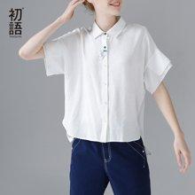 初语2018夏季衬衣夏宽松白衬衫女短袖学生小清新上衣女士韩范百搭8720232006