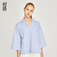初语2018夏季新款 蓝白条纯棉衬衣显瘦病号服衬衫女潮漏锁骨上衣8820232009
