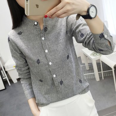 搭歌秋季新款韓版女裝顯瘦修身立領條紋長袖襯衣學生2551