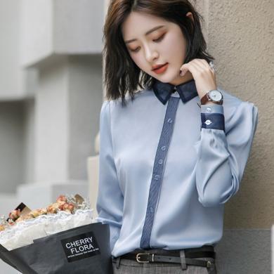 妙芙琳 秋季新款职业装衬衣修身韩版ol工作服上衣?#21672;纳?#22899;6889