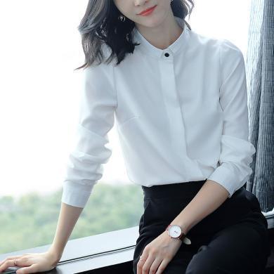 亿族 春秋装新款时尚百搭简约白衬衫宽松显瘦小立领长袖衬衣