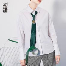 初語襯衣翻領純色前短后長寬松長袖襯衫純色上衣女裝8730212014