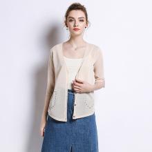 绮娑 夏季新款针织开衫女短款防晒衣欧美女装V领薄款外套七分袖空调衫