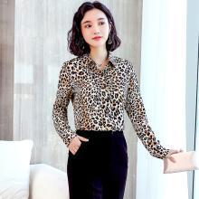 億族 性感豹紋襯衫女秋季新款時尚polo領長袖韓范印花襯衣打底衫