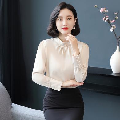 億族 秋季新款職業氣質襯衫女時尚長袖立領襯衣大碼女裝上衣
