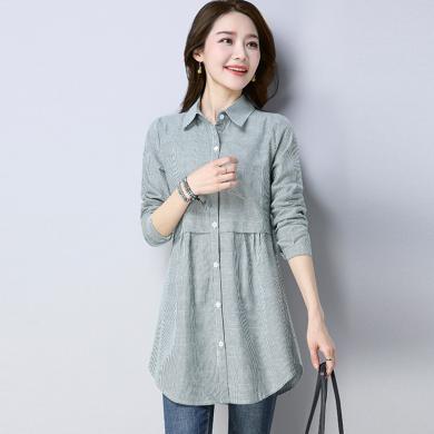 億族 秋季新款襯衣長袖棉麻中長款氣質顯瘦條紋襯衫女百搭