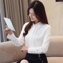 修允菲2019春季新款韓版白色襯衫刺繡雪紡衫修身上衣女長袖B1257