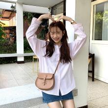 搭歌2019春季新品韩版学院风宽松长袖开衫翻领竖条纹衬衫女hzC79285