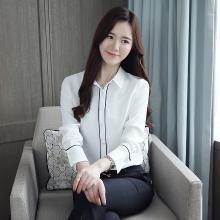 修允菲2019春季新款韓版修身白襯衫女長袖通勤上衣女時尚打底衫B1256
