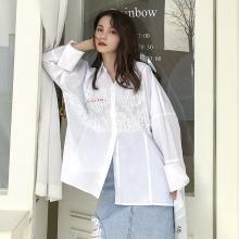 芃拉女士衬衫2019春季新款韩版白色长款女士上衣 刺绣宽松衬衣女长袖JQ198013