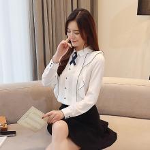 修允菲2019春季新款韓版波浪邊白色雪紡衫蝴蝶結修身上衣女長袖B1262