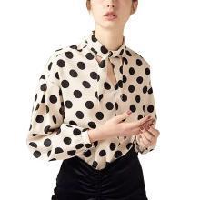 甜美波点衬衫九分衬衫袖修身2019春夏新款女名媛OL时尚女士上衣潮