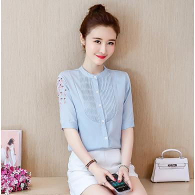 meyou  刺绣女短袖衬衫女夏装新款韩版气质上衣立领休闲衬衣