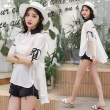 熤笙靘 2019夏季新款双层领蕾丝拼接短袖衬衫女韩版时尚前短后长个性衬衣  Z5A2999108