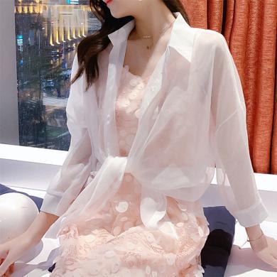 搭歌2019夏季新款防晒衣沙滩海边薄款白衬衫宽松空调衫雪纺衫百搭女装 A1787