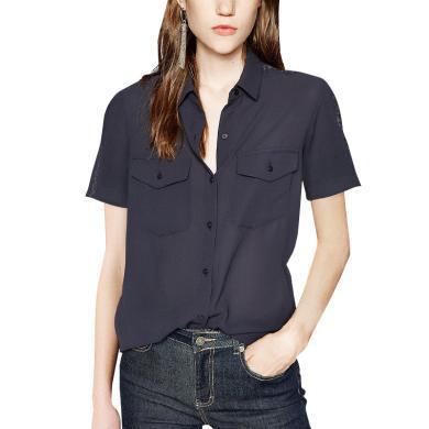 tobebery通勤OL职业休闲衬衫时尚短袖衬衫女2019夏装新款气质上衣