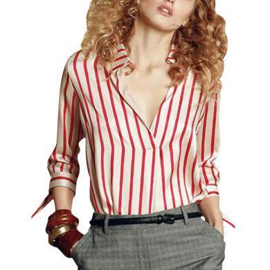 女條紋襯衫chic修身甜美上衣2019夏季新款易搭大氣職場粉色女上裝