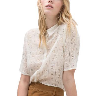 欧洲站纯色镂空衬衫2019春夏女装新款提花出游宽松减龄女上衣