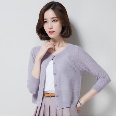 NewmanCity開衫薄款春夏女裝短款針織防曬衣修身披肩外套外搭空調衫FANGS16