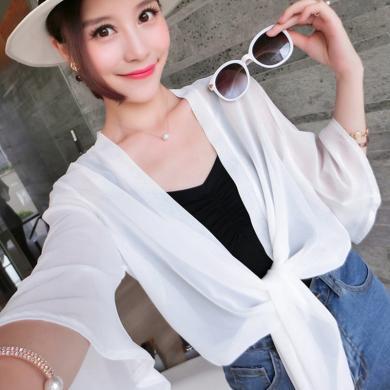 NewmanCity春夏女裝韓版雪紡衫披肩百搭開衫防曬衣中袖空調衫FANGS3